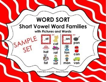 Word Sort - Short Vowel Word Families Sample
