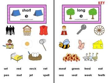 Word Sort - Short and Long Vowel Sounds
