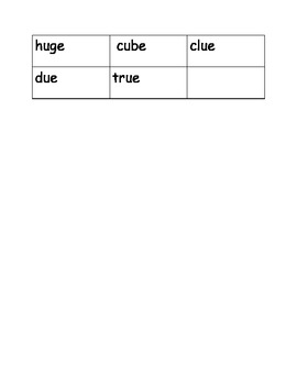Word Sort Short/Long Vowel U  /u/(umbrella), Magic E /u-e/ (tube), /ue/ (glue)