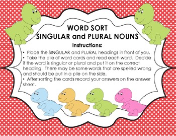 Word Sort - Singular and Plural Nouns