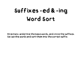 Word Sort Suffixes -ed & -ing