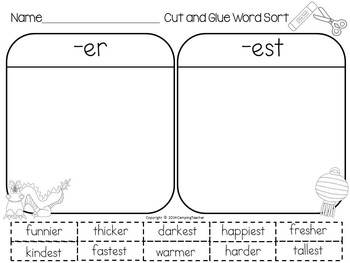 Word Sort Suffixes -er and -est {Chinese Theme} Chinatown