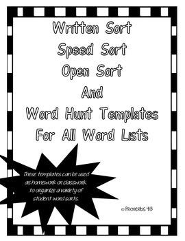 Word Sort Templates