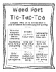 Word Sort Tic-Tac-Toe