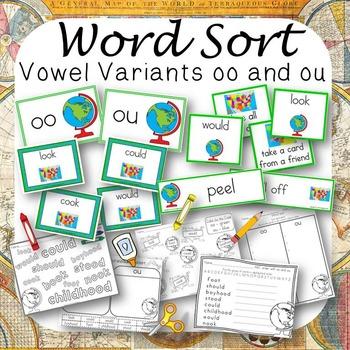 Word Sort Vowel Variants oo and ou Beginner's World Atlas