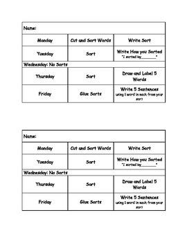 Word Sort Week Schedule