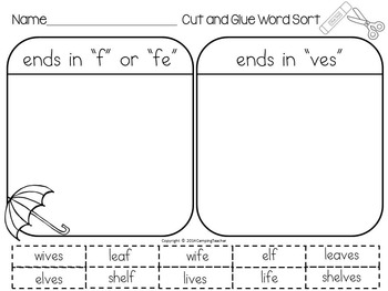 Word Sort adding es to words ending in f and fe Cool Ali