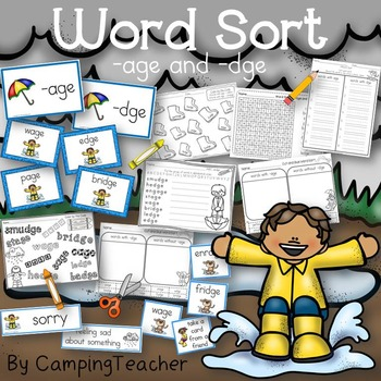 Word Sort age and dge Story The Puddle