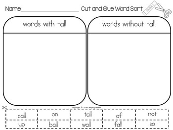 Word Sort -all Word Families Story All That Corn