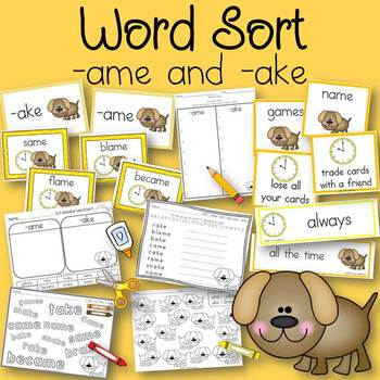 Word Sort ame and ake Get Up and Go!