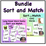Long and Short Vowels Sort and Match - Word and Picture Card Bundle