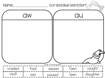 Word Sort aw and au Montigue on the High Seas