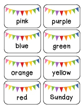 Word Sort {color words, number words, Days and Months}