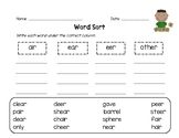 Word Sort - ear, eer, air word families