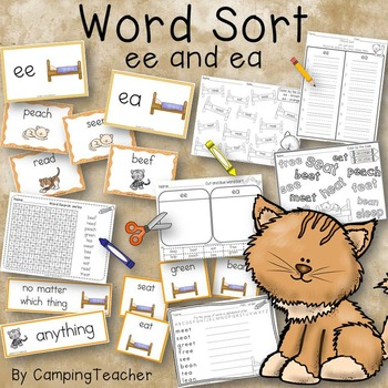 Word Sort ee and ea Story A Bed Full of Cats