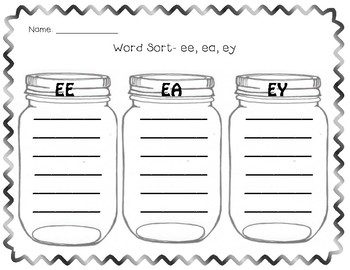 Word Sort- ee, ea, ey