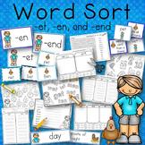 Word Sort -et, -en, and -end Word Families Story Dan's Pet