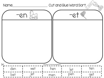 Word Sort -et, -en, and -end Word Families Story Dan's Pet