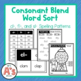 Word Sort for Consonant Blends | cl fl sl