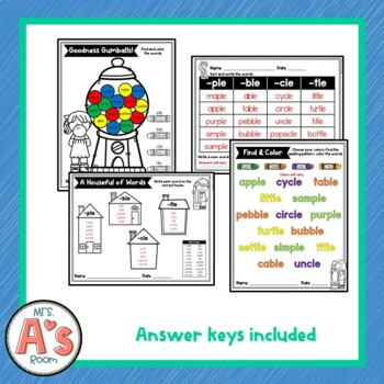 Word Sort for Final Stable Syllables -ple, -ble, -cle, and -tle