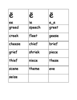 Word Sort for Long /e/  ee (bee)  ie (chief) magic e (eve)