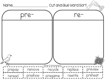 Word Sort Prefixes pre- and re- The Pine Park Mystery