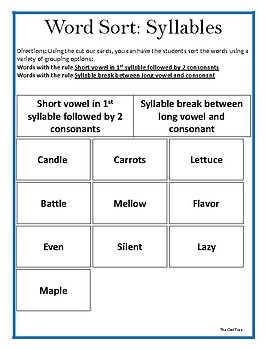 Word Sort for Syllables