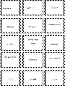 Word Sort for Text Structure Signal Words