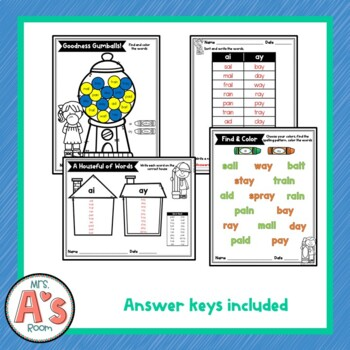 Word Sort for ai and ay Vowel Digraphs
