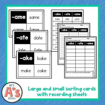 Word Sort for -ake, -ate, and -ame Word Families