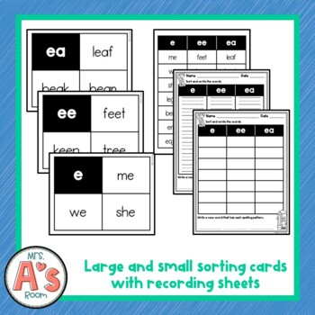 Word Sort for e, ea, and ee Long E Spelling Patterns
