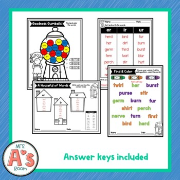 Word Sort for er, ir, and ur Bossy R Spelling Patterns