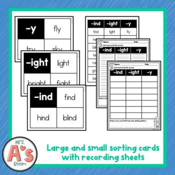Word Sort for -ind, -ight, and -y Long I Word Families