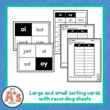 Word Sort for oi and oy Vowel Dipthong Spelling Patterns