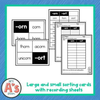 Word Sort for -orn and -ort Bossy R Word Families