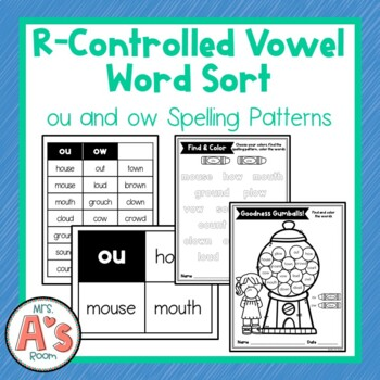 Word Sort for ou and ow Vowel Dipthong Spelling Patterns