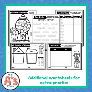 Word Sort for re- and un- Prefixes