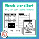 Word Sort for str, spl, and scr Consonant Blends
