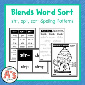 Word Sort for str, spl, and scr Consonant Blends
