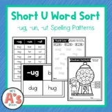 Word Sort for -ug, -un, and -ut Word Families