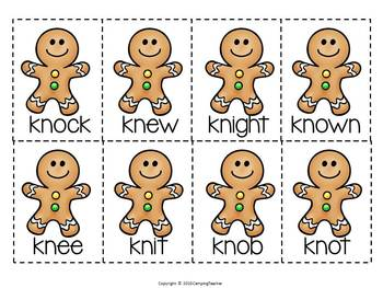 Silent Consonant Word Sort -gn, -kn, and -wr Gingerbread Man Theme