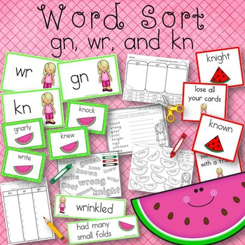 Word Sort gn, kn, and wr Watermelon Days