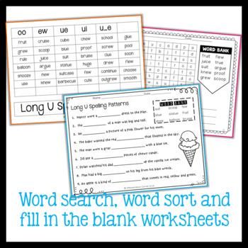 Worksheet Pack long u spelling patterns (ue, ui, oo, ew)