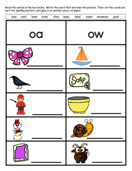Word Sort- oa and ow