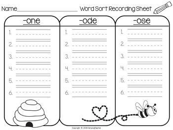 Word Sort one, ode, and ose Story Busy Buzzy Bee
