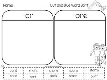 Word Sort -or and -ore Story Try Your Best