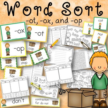 Word Sort -ot, -ox, and -op Word Families Story Todd's Box