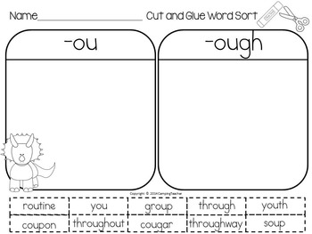 Word Sort ou and ough Dinosaurs Travel