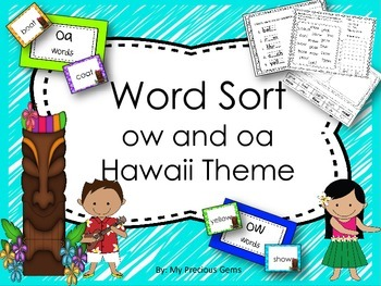 Word Sort ow and oa  Hawaii Themed