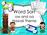 Word Sort ow and oa  Hawaii Themed